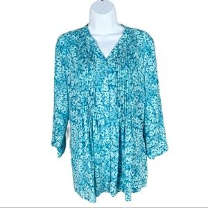 Coldwater Creek Watercolor Floral Pleated Tunic